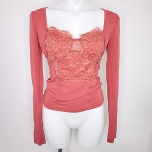 NWOT Free People lace bustier top pink M